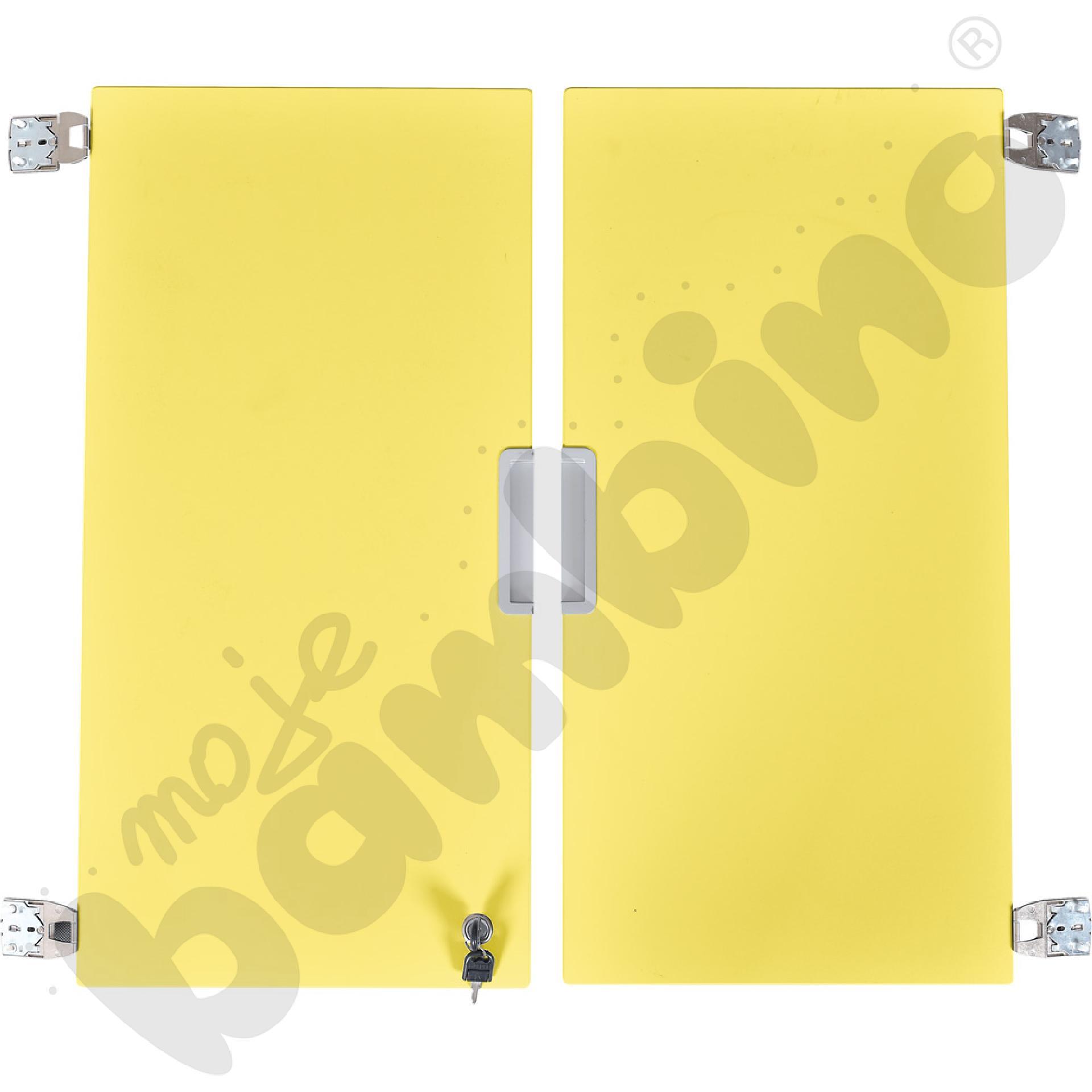 Quadro - drzwiczki średnie z zamkiem 90, do szafek bez przegrody, 1 para, cichy domyk - żółte