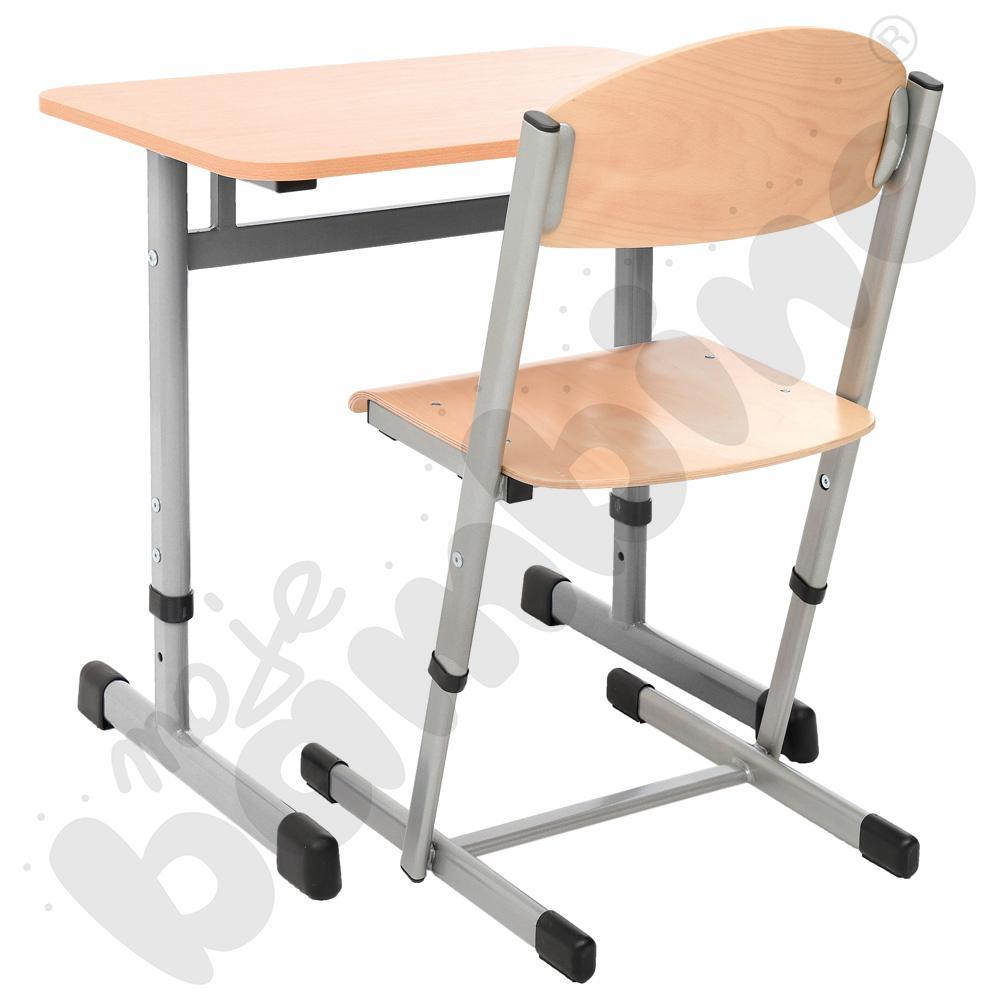Stół IN-T 1-os. z reg. wys. 3-7 srebrny + krzesło T z reg. wys. 4-6