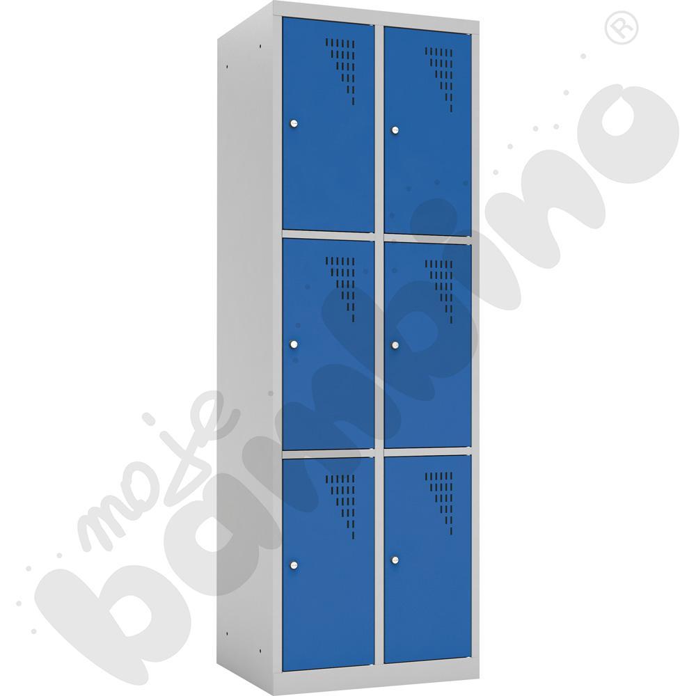 Szafka ubraniowa z 6 schowkami drzwi niebieskie