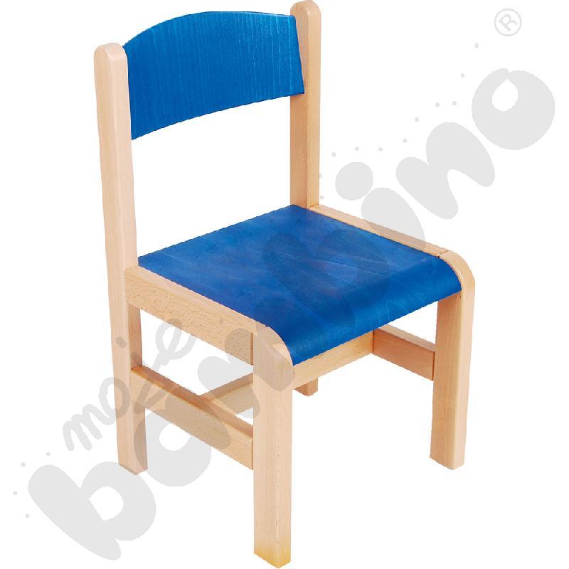 Krzesło drewniane niebieskie ze stopką filcową rozm. 2