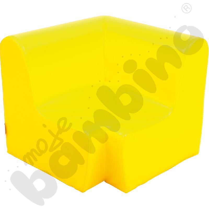 Duży fotelik rogowy żółty