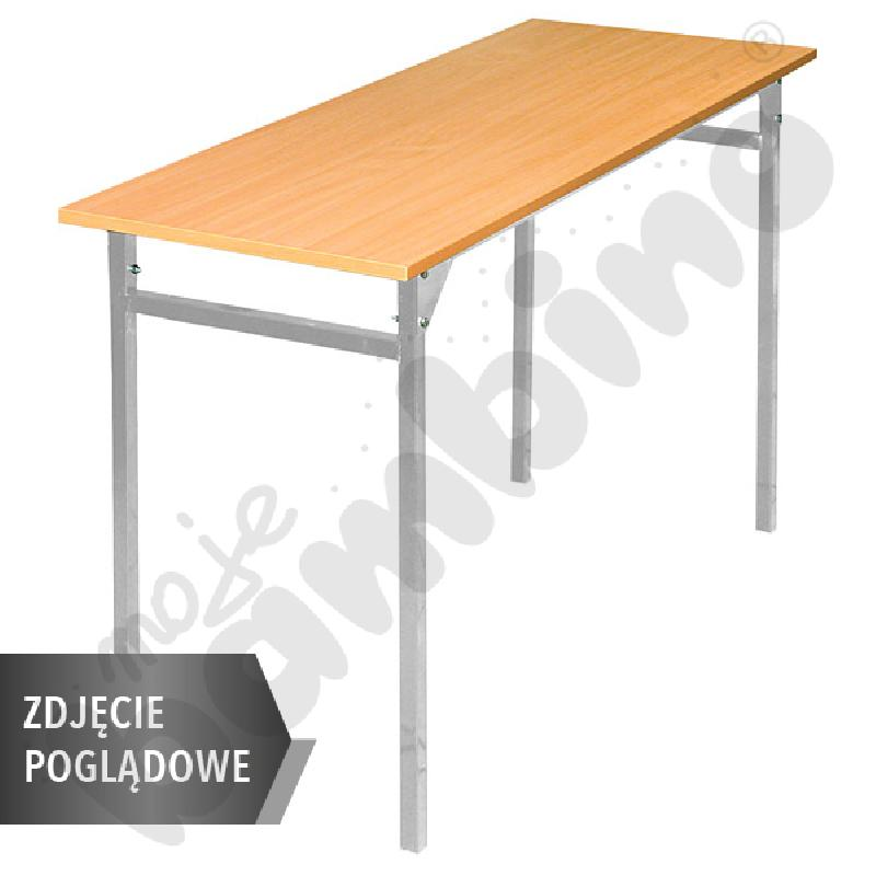Stół B 130x50 rozm. 6, 2os., stelaż czarny, stopka plastikowa, blat brzoza, obrzeże ABS, narożniki proste