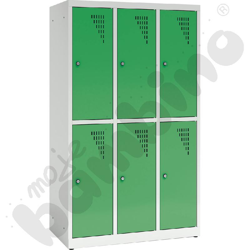 Szafa ubraniowa z 6 schowkami, 150 cm - drzwi ciemnozielone