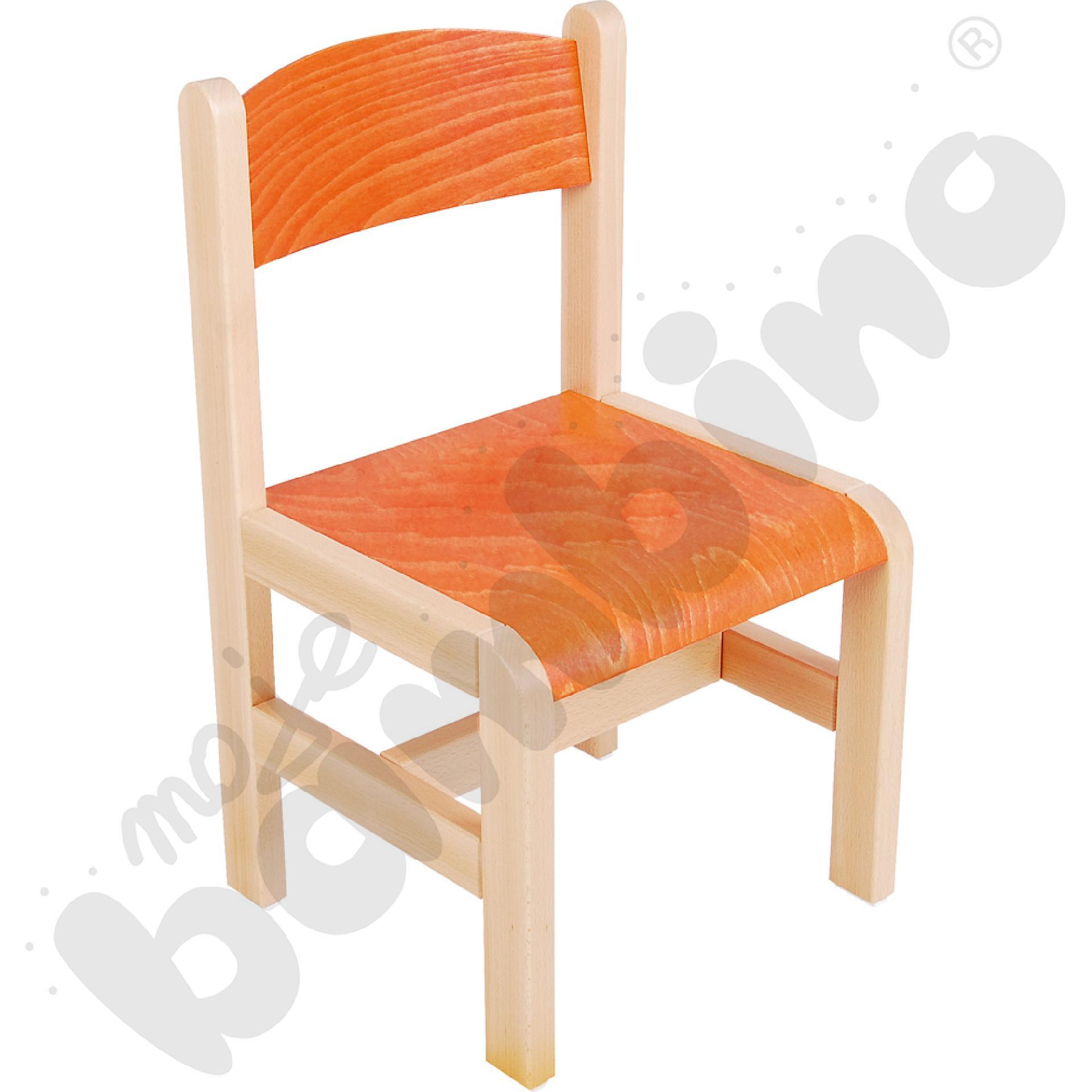 Krzesło drewniane pomarańczowe ze stopką filcową rozm. 1