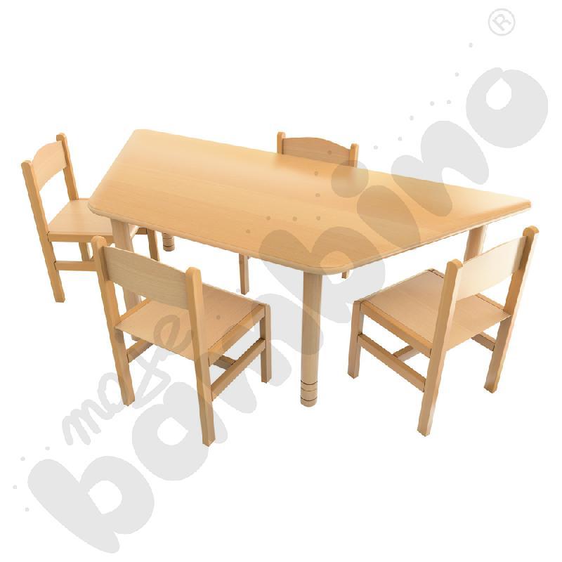 Stół Flexi trapez + 4 krzesła drewniane rozm. 3