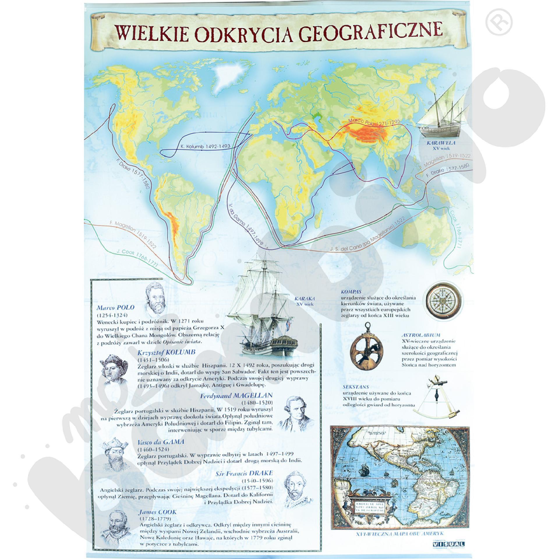 Plansza dydaktyczna - Wielkie odkrycia geograficzne