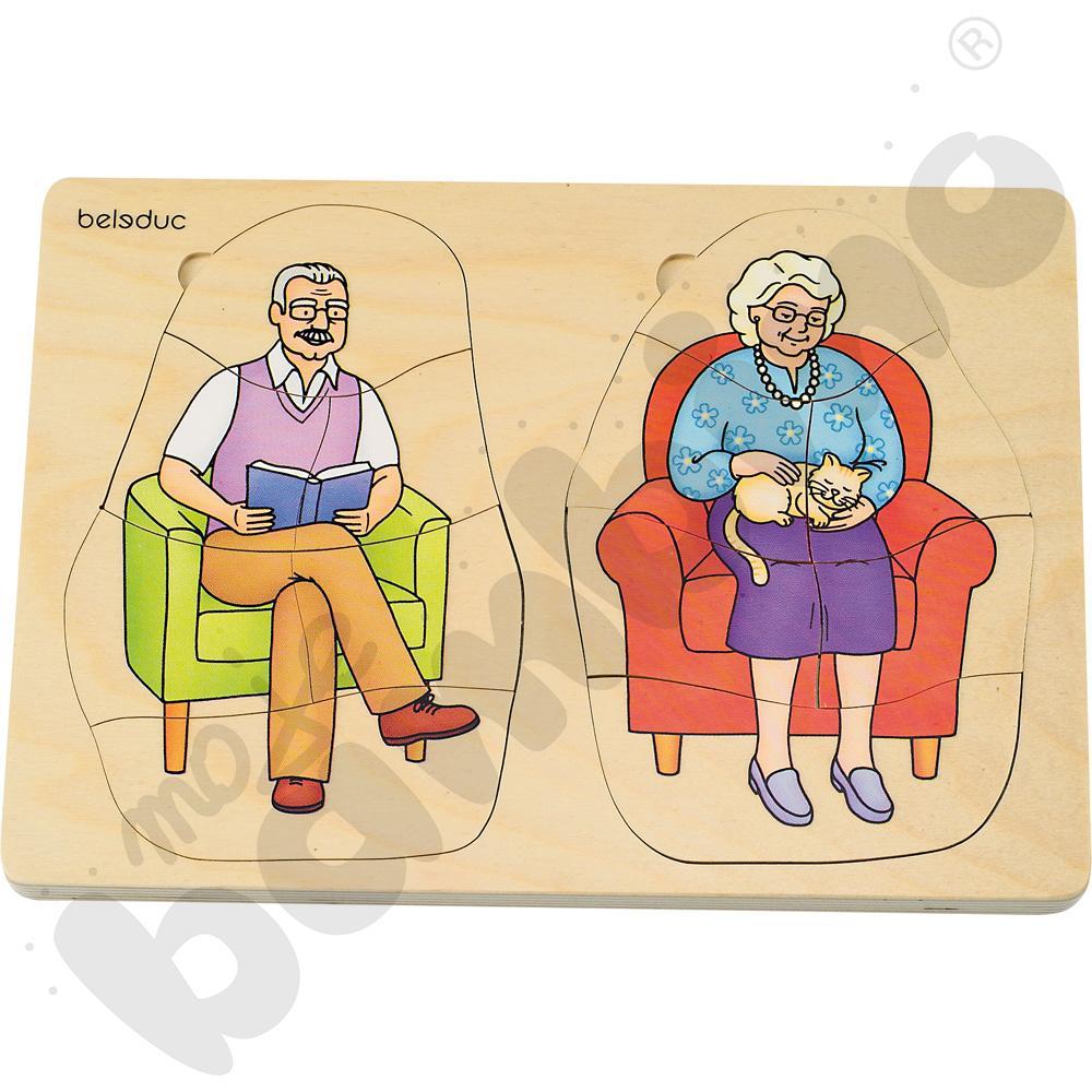 Edukacyjne puzzle warstwowe - dziadek i babcia