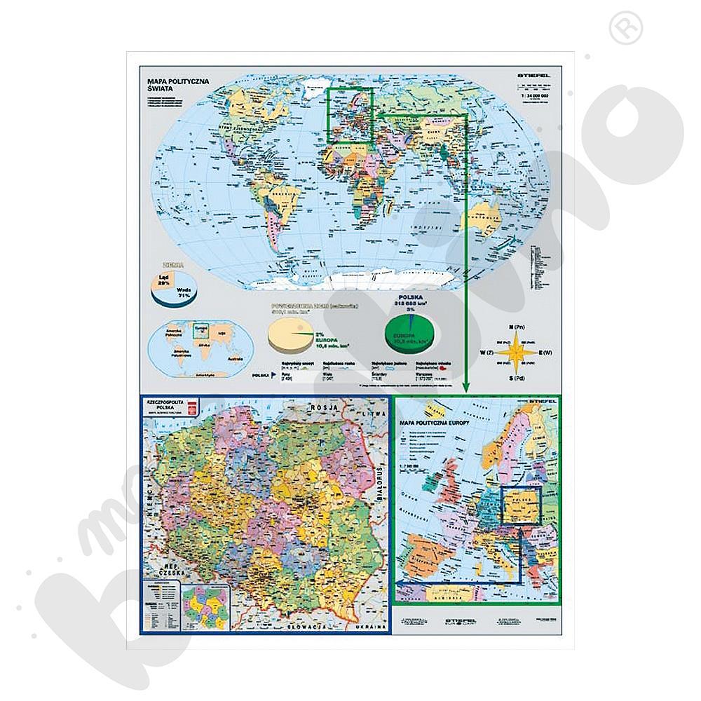 Mapa Polski w Europie i Świecie