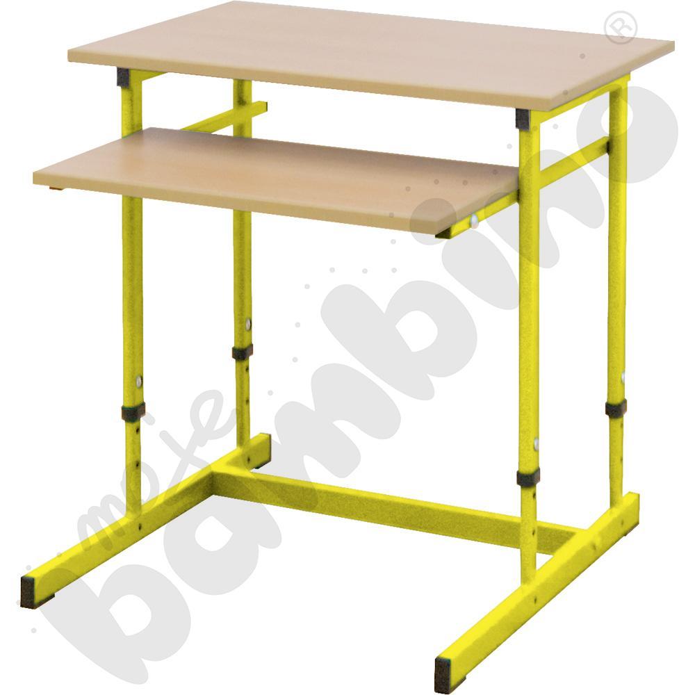 Stolik komputerowy NEO 1R 1 os. z regulowaną wysokością 3-7 - żółty