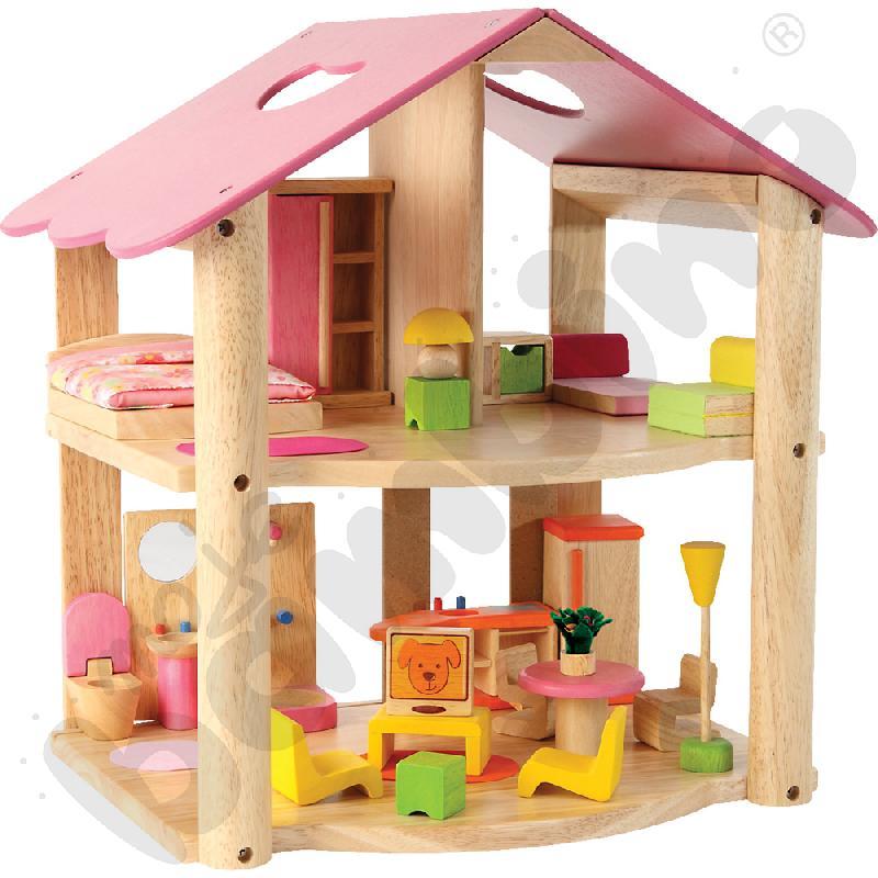 Mały różowy domek z mebelkami