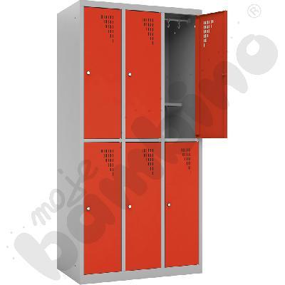 Szafa ubraniowa z 6 schowkami z dodatkową półką  - drzwi czerwone