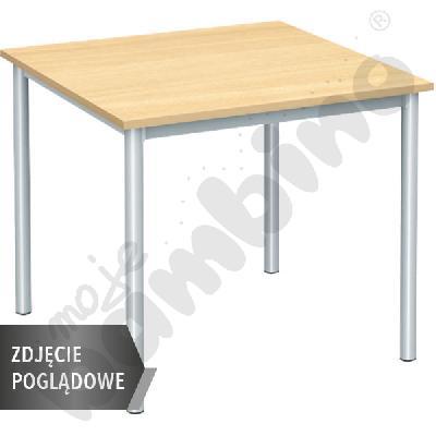Stół Mila 80x80 rozm. 6, 4os., stelaż czarny, blat klon, obrzeże ABS, narożniki proste