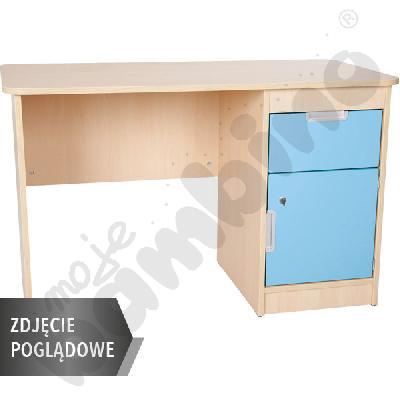 Quadro - biurko z szafką i 1 szufladą  - błękitne, w białej skrzyni