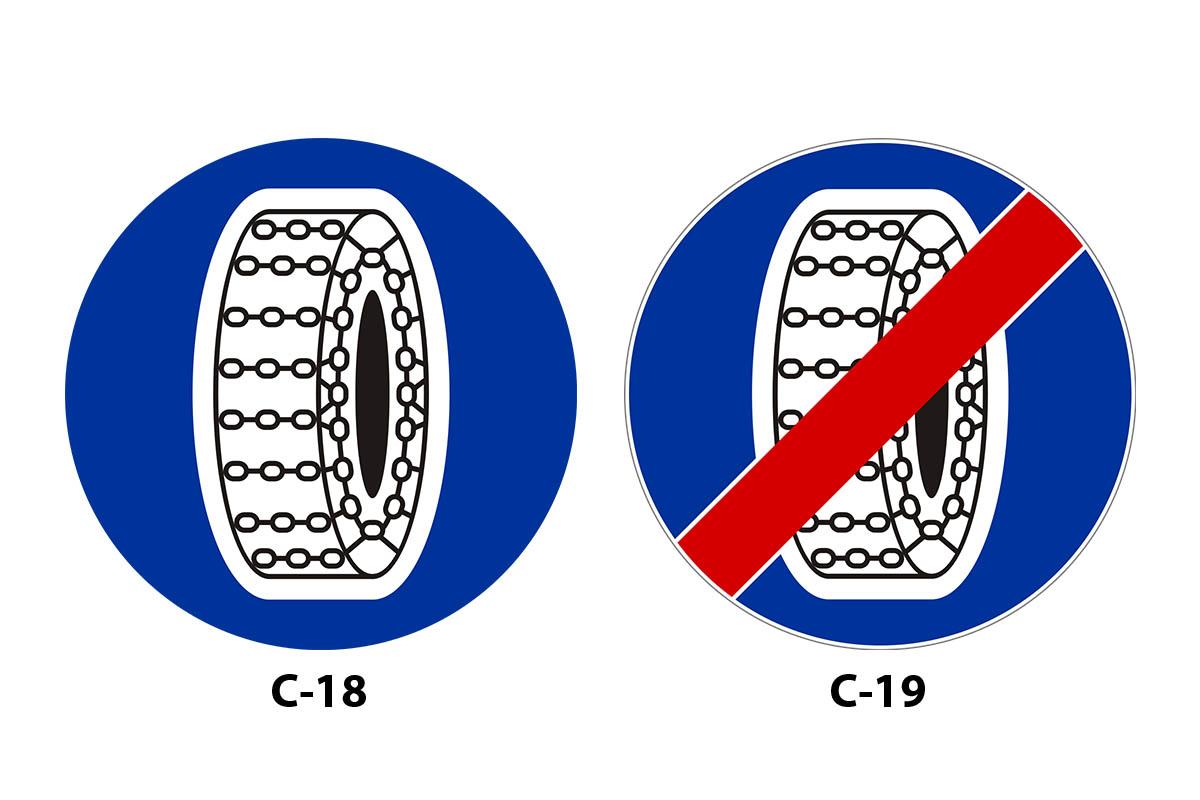 C-18 Nakaz używania łańcuchów przeciwpoślizgowych, C-19 Koniec obowiązku jazdy na łańcuchach